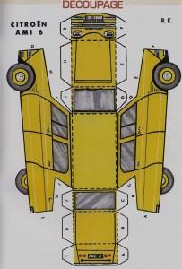 Découpage Ami 6 jaune