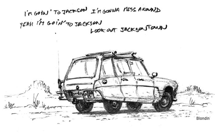Une Citroën Ami 6 break au milieu des grands espaces